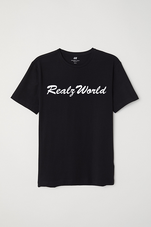 Realz World Tee White Writing