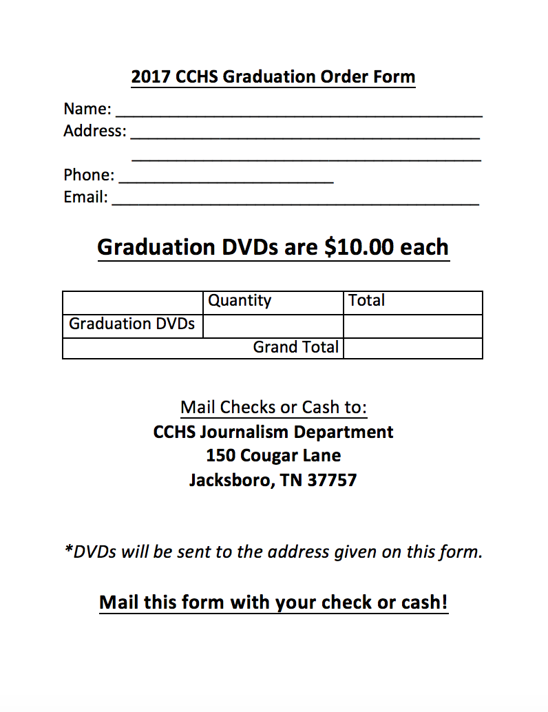 2017 Graduation DVD Order Form | Campbell County High School TN ...