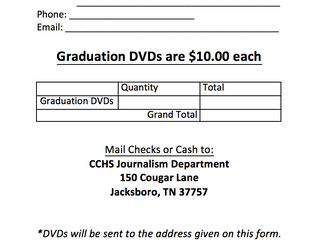 2017 Graduation DVD Order Form