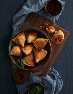 Top Shot of Samosa - Indian Food Photography