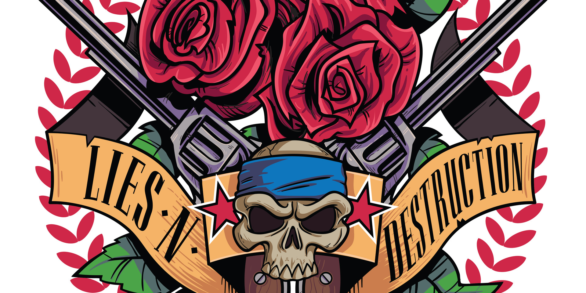 Lies N' Destruction Skull, Roses and Gun Logo