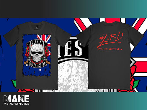 Lies N' Destruction Skull Flag T Shirt MENS