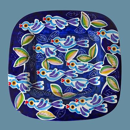 """PI018 - Piatto Fazzoletto, Collezione """"Stormo"""" blu"""