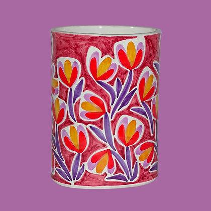 """VA047 - Portafiori Ovale """"Giardini"""" viola e rosa"""
