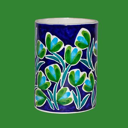 """VA051 - Portafiori Ovale """"Giardini"""" blu elettrico"""