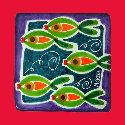 """CU004 - Sotto pentola Piastra L, Collezione """"Banco di pesci"""""""