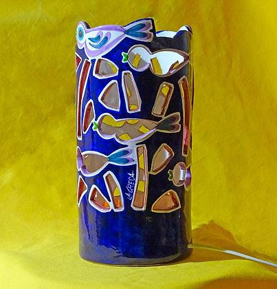 """LL007 - Lampada da tavolo Ricami, Collezione """"Stormo"""" blu"""