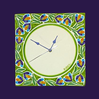 """PI022 - Orologio da muro Quadro, Collezione """"Giardini"""" verde chiaro"""