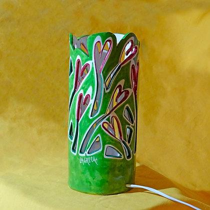 """LL006 - Lampada da tavolo Ricami, Collezione """"Giardini"""" verde chiaro"""