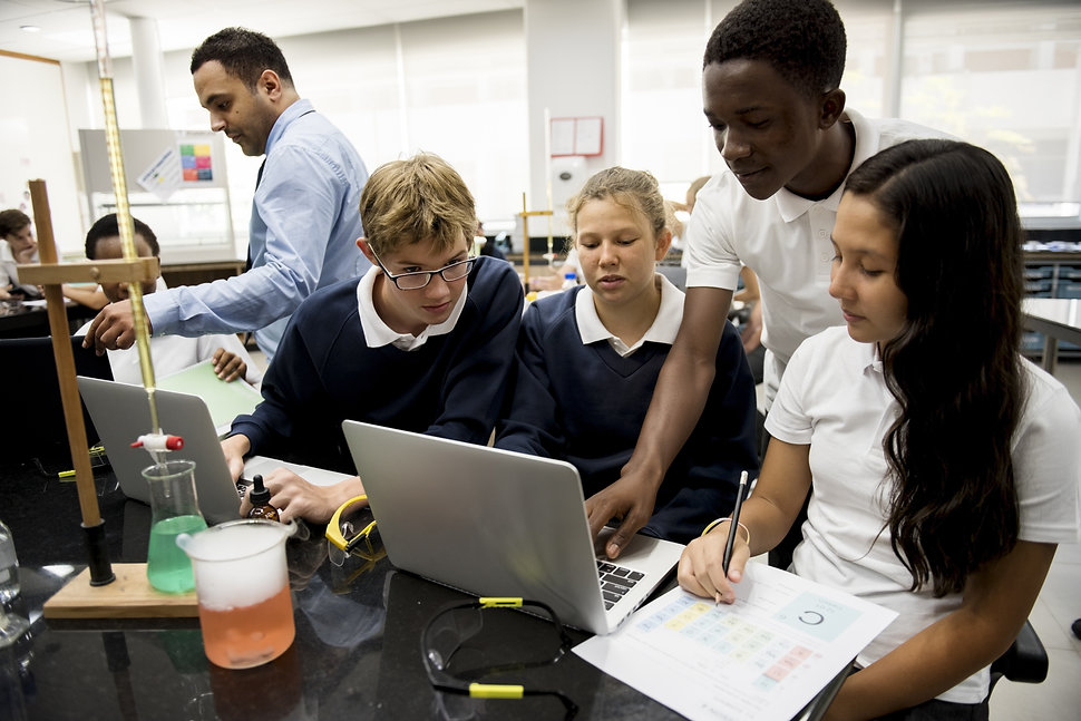 Group of students laboratory lab in scie