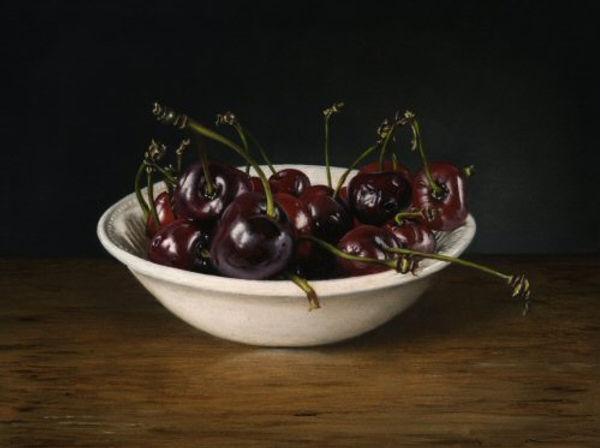 Cherries in white bowl  small