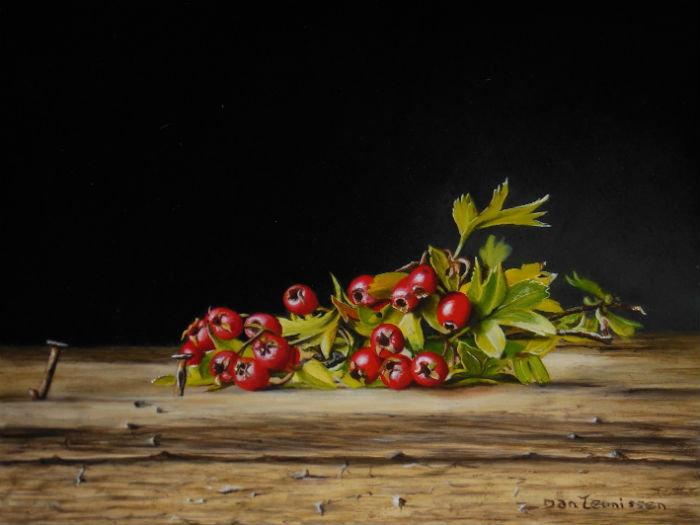 Sprig of Hawthorn berries