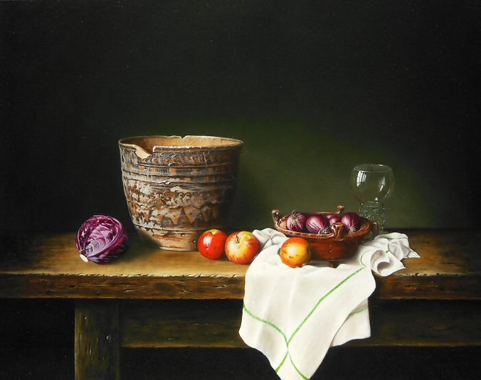 Still life with earthenware jar