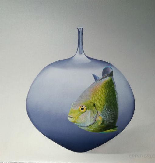 Vis op Lichtblauwe vaas