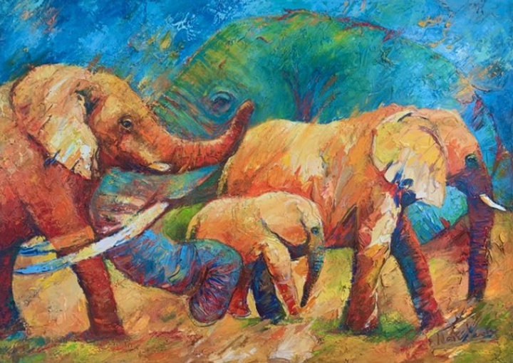 Portret en kudde olifanten