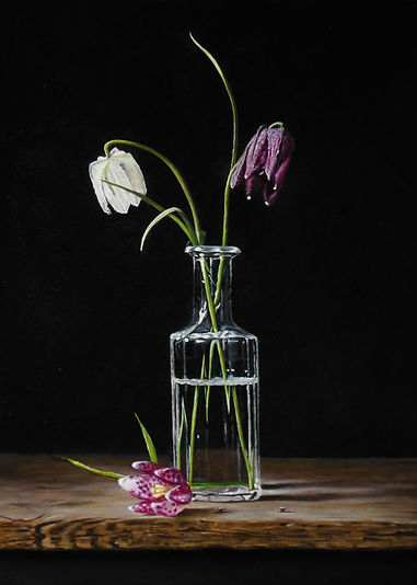 Lapwing flowers in glass vase