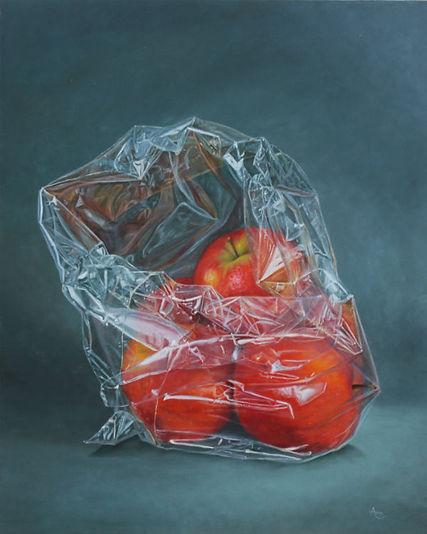 Rode Appels in plastic