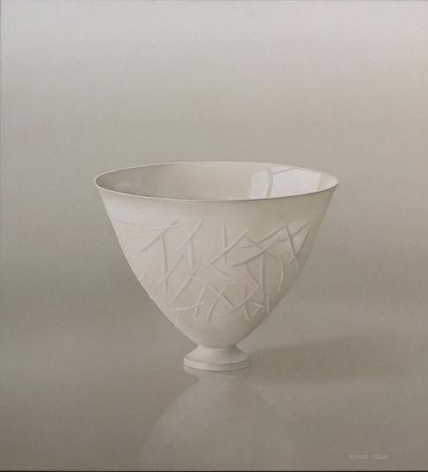 Witte porseleinen vaas met relief