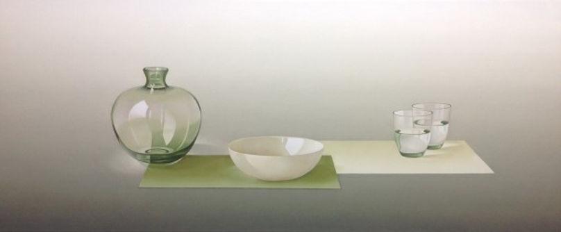 Groen  glas witte schaal vlakken