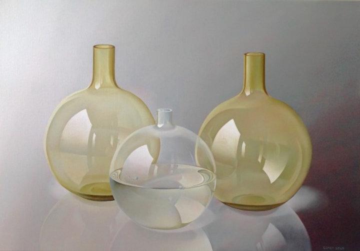 Glaswerk bruin en doorzichtig