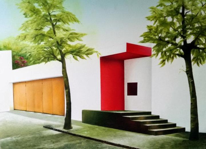 Mexicaanse villa met rode muur