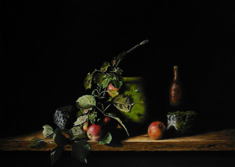 Still life with apples and jug