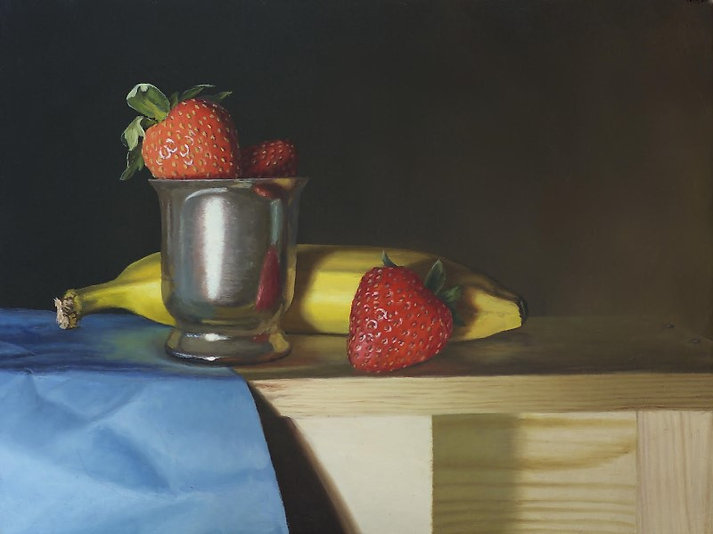 Banana and strawberry in blue