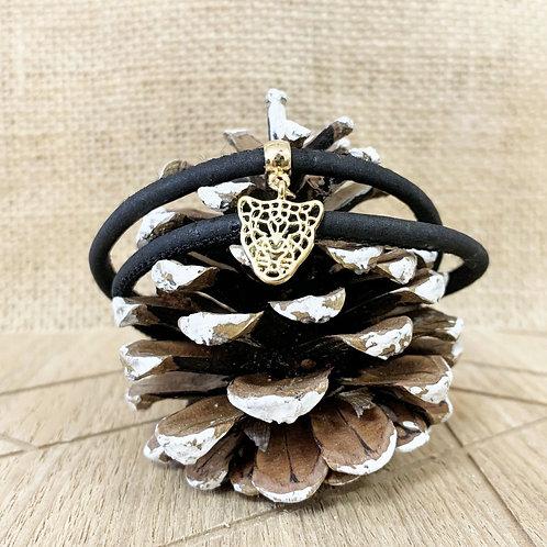 Bracelet liège noir avec pendentif tigre en or