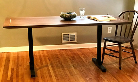 Walnut Table with Metal Legs and Maple Inlay - Starting At