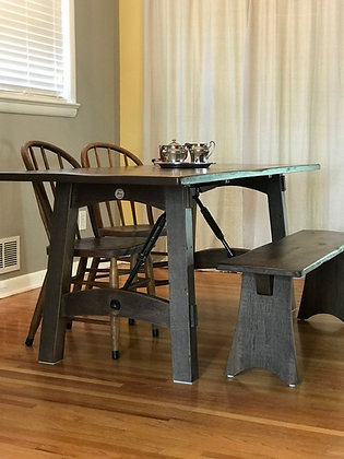 Repurposed Wood and Metal Table With Bench - Starting At