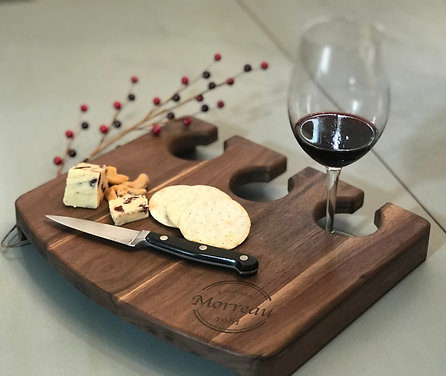 Wine and Cheese Serving Tray - Walnut