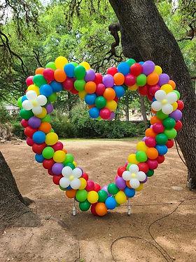 rainbow color yard balloon heart sculpture