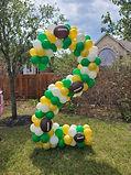 green yellow white yard balloon number 2 with football balloons in houston