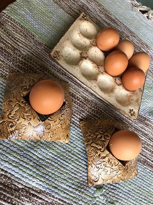 Hard boiled egg holders.