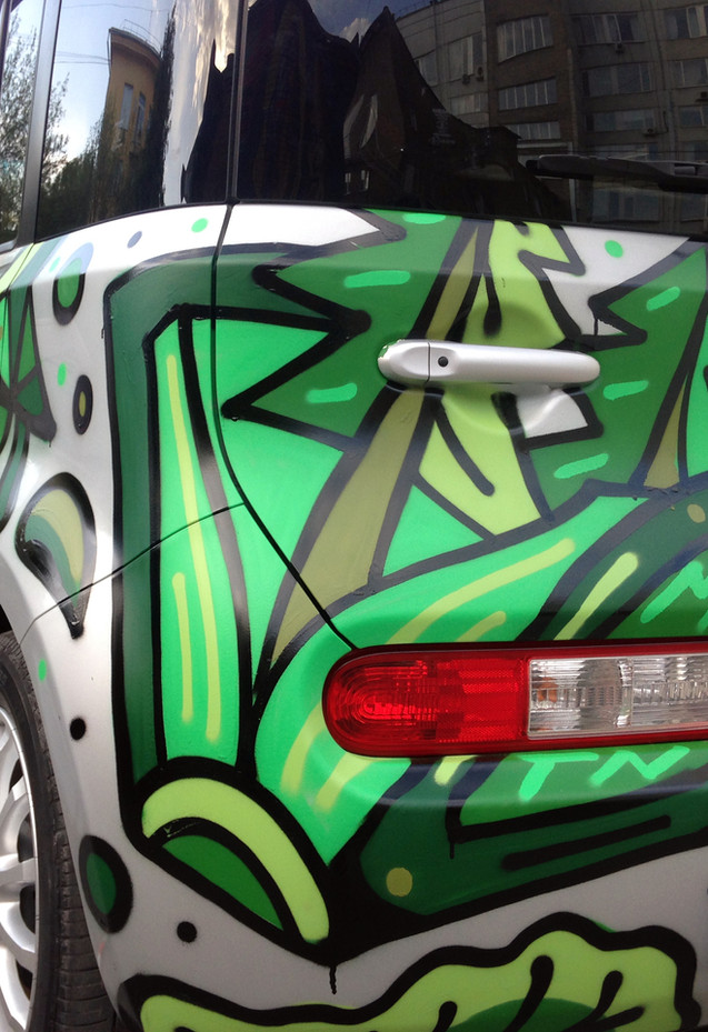 Green style on silver Nissan, Tomsk, Russia