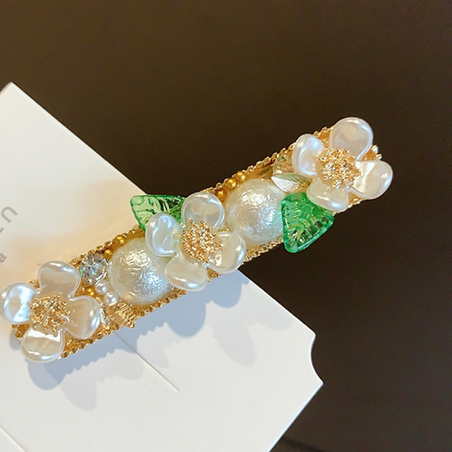 Elegant White/Green/Gold Flower