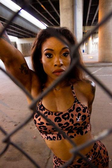 """Love My Brown Skin"" Leopard Yoga Set - Savanna/ Desert Sand"