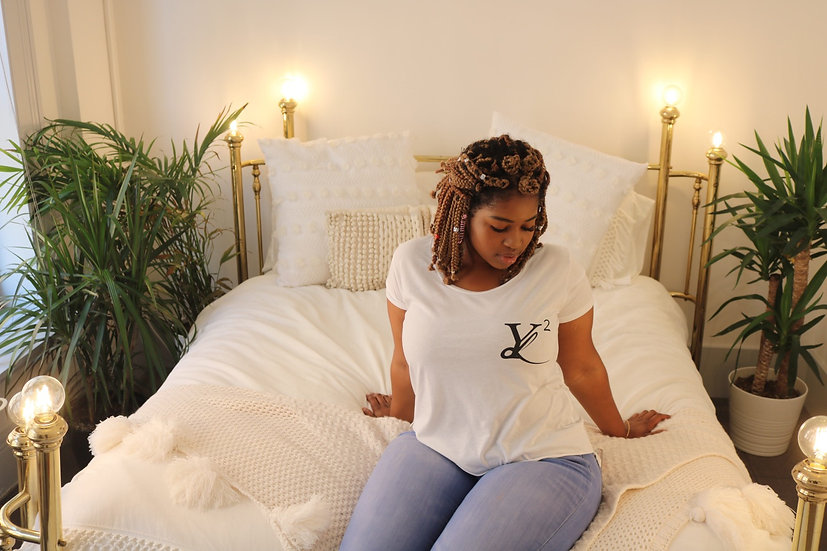 "YL2 ""Logo"" Relaxed Drop Tee - White"