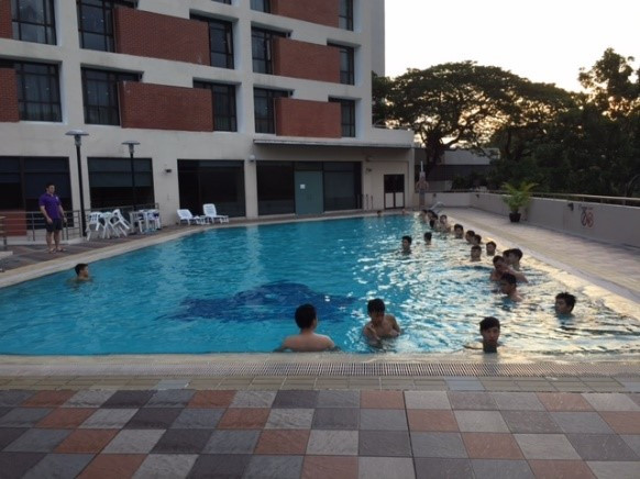 The early morning pool session