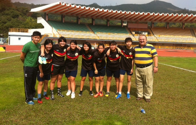 Breakthrough girls U16  Rugby Team with our coach Pun Pun and OB director Steve