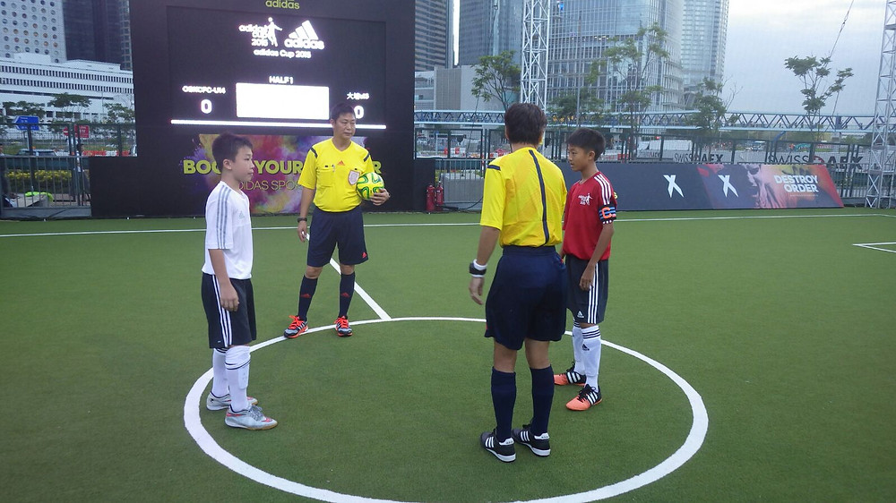 Team captains at the start of the competition ( Breakthrough in white) Adidas Cup 2015