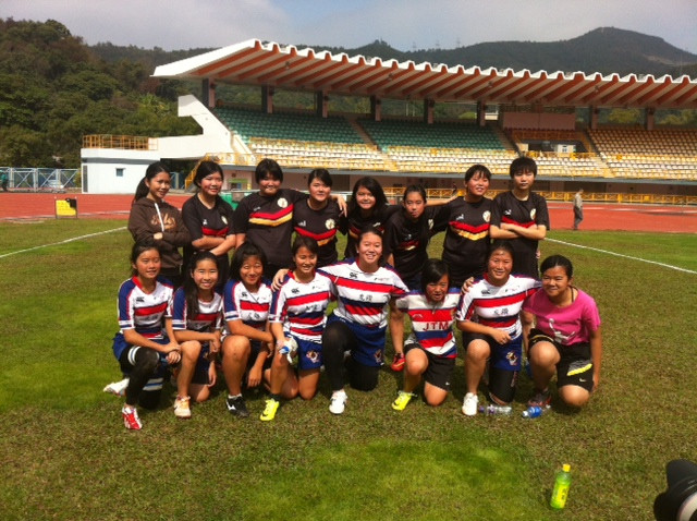 Breakthrough Rugby girls U16 team with Tai Po girls rugby team.