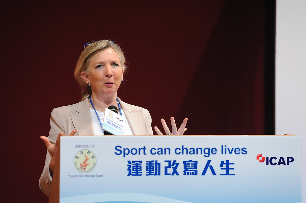 Dr Trisha Leahy giving her key note speech on Child Protection and Safety in Sport at the Hong Kong Sports Institute.