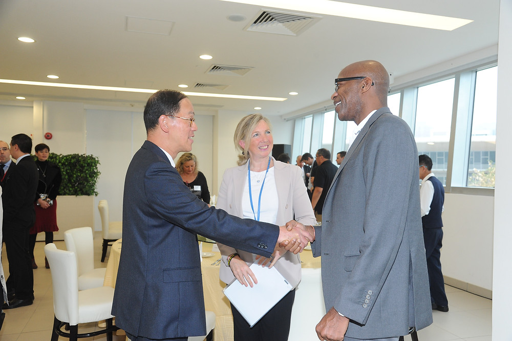 Chairmen of the Laureus World Sports Academy Dr Edwin Moses, Dr Trisha Leahy and Hong Kong Secretary for Home affairs Mr Tsang Tak-sing