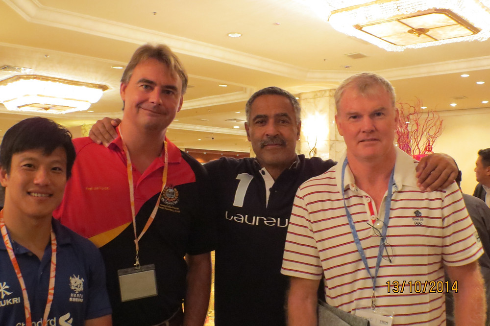 From left Brandon Wong (HKRFU), Robbie Mcrobbie, Olympic legend Daley Thompson & BJ Smith at the Sport for Good Summit in KL