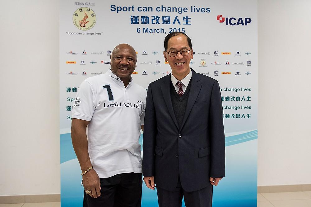 Laureus Acdemy member and former world champion Marvelous Marvin Hagler and Hong Kong Secretary for Home affairs Mr Tsang Tak-sing.