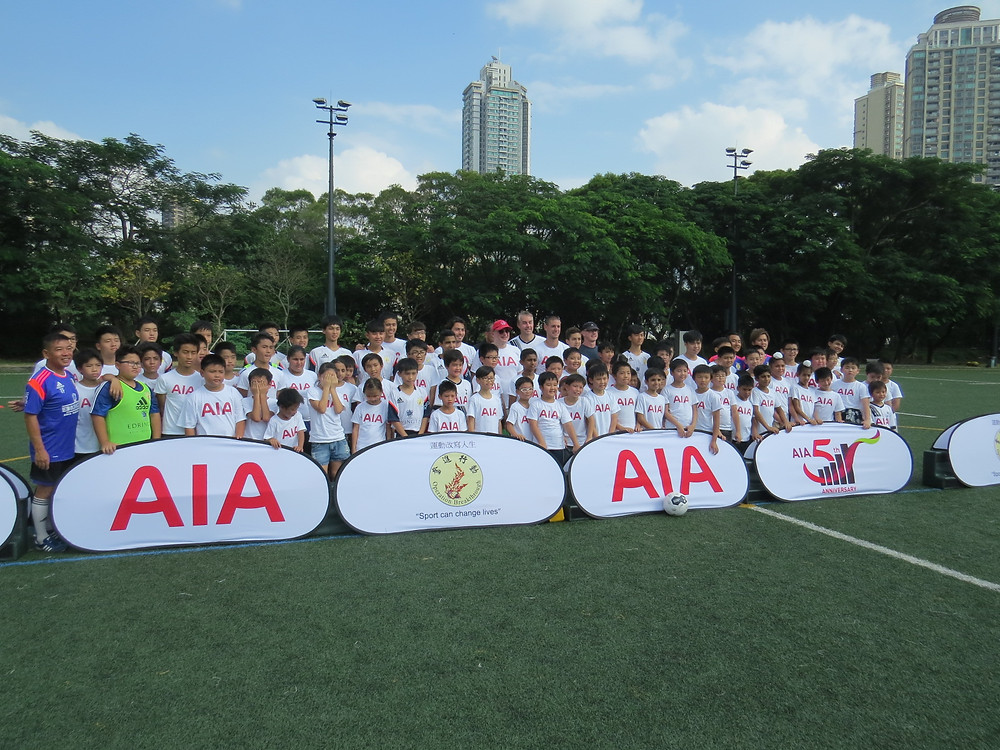 """A group photo with many of the 60 participants who turned up for the football """"Open Day"""" on October 31st, 2015."""