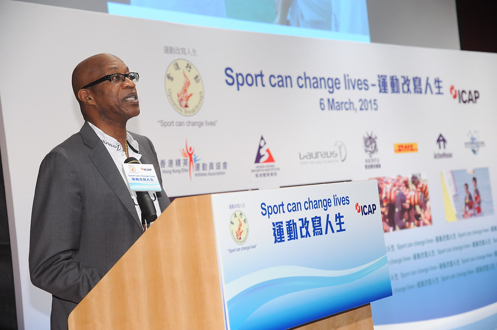 """Chairmen of the Laureus World Sports Academy Dr Edwin Moses making his keynote speech at the """"Sport can change lives"""" Forum."""