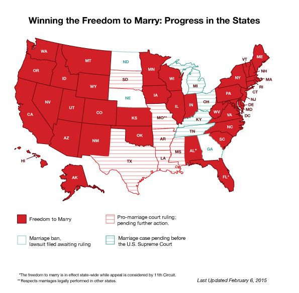 A review of same-sex marriage in the states. http://www.freedomtomarry.org/states/