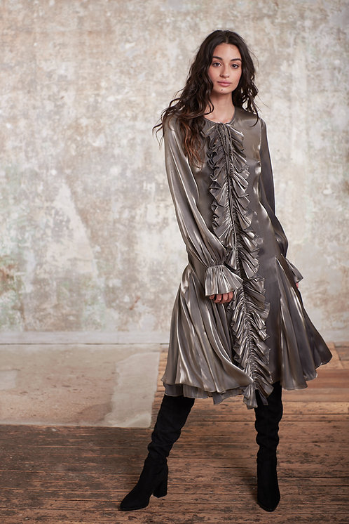 LONG SLEEVES DRESS WITH RUFFLE DETAILS